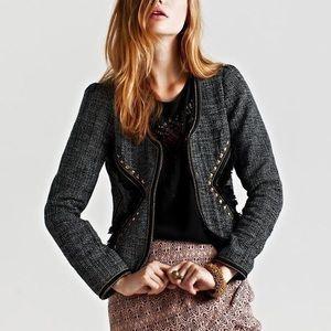 Maison Scotch Studded Frayed Tweed Blazer
